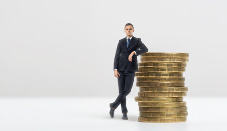 image of fellow leaning on money